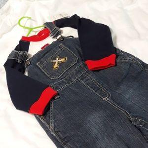 Oshkosh Overalls & NWT Shirt 18-24m
